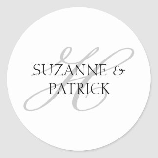 Script H Monogram Labels (Silver / Black) Classic Round Sticker