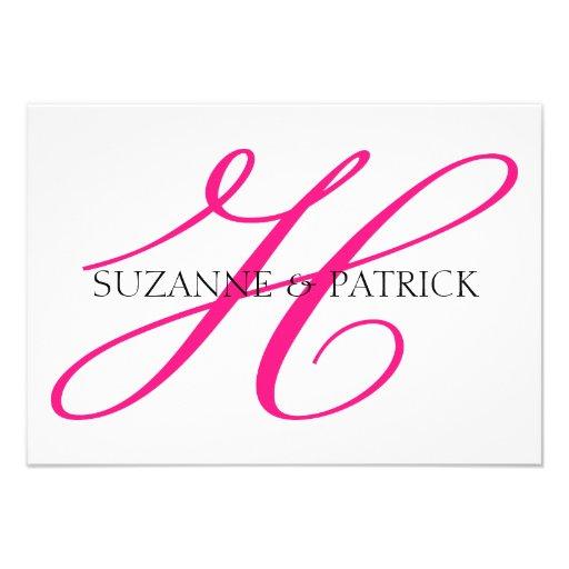 Script H Monogram Notecard Hot Pink Black Personalized Announcement Zazzle