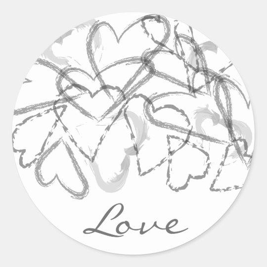 Script Hearts Classic Round Sticker