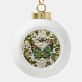 script Leaf Wreath french country butterfly Ceramic Ball Christmas Ornament