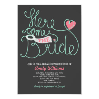 "Script Lettering Grey Mint Bridal Shower Invite 5"" X 7"" Invitation Card"