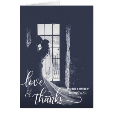UniqueWeddingShop Script LOVE & THANKS wedding note card | PHOTO