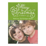 "Script Merry Christmas Holiday Photo Card Green 5"" X 7"" Invitation Card"