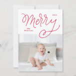 """Script Merry Holiday Card<br><div class=""""desc"""">This design features my quirky,  fun handlettering and a bold striped backer.  The stripes can be swapped on the back for another family photo and custom background color.</div>"""