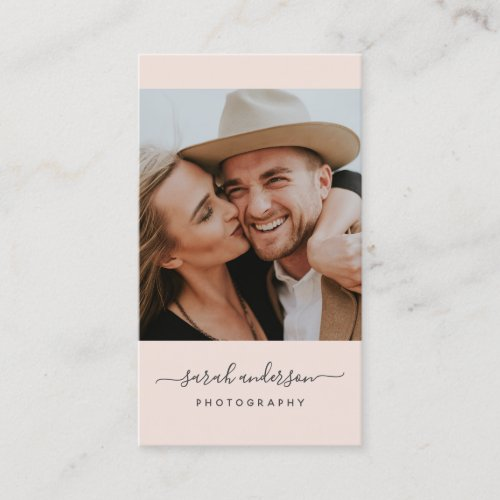 Script Modern Typography Photographer Blush Pink Business Card