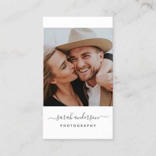 Script Modern Typography Photographer Business Card
