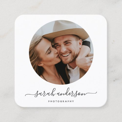 Script Modern Typography Photographer Square Business Card