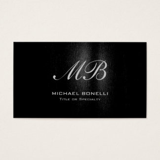 Script monogram black gray pattern business card