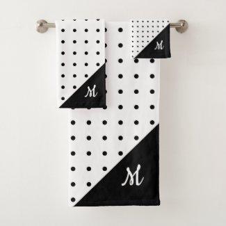 Script Monogram Black on White Polka Dot Pattern Bath Towel Set