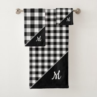 Script Monogram Black White Buffalo Plaid Pattern Bath Towel Set