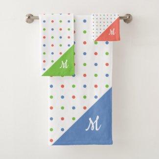 Script Monogram Blue Coral Green Polka Dot Pattern Bath Towel Set