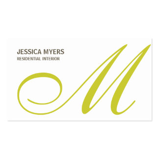 Script Monogram Business Card Lime Business Card