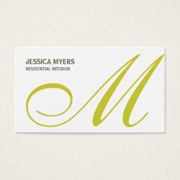 Professional Business Script Monogram Business Card (Lime)