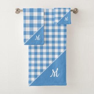 Script Monogram Light Blue White Checked Pattern Bath Towel Set