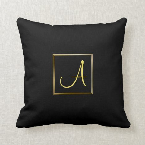 Script Name Initial A Gold Monogram Black Template Throw Pillow