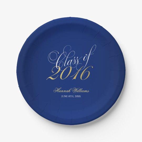 script navy blue faux gold 2016 graduation party paper plate. Black Bedroom Furniture Sets. Home Design Ideas