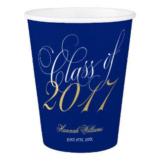 Script Navy Blue Faux Gold 2017 Graduation Party Paper Cup