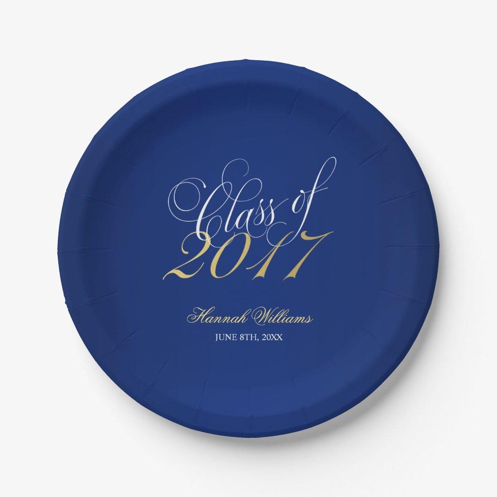 Script Navy Blue Faux Gold 2017 Graduation Party