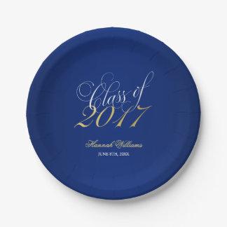 Script Navy Blue Faux Gold 2017 Graduation Party Paper Plate