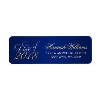 Script Navy Blue Faux Gold 2018 Graduation Label