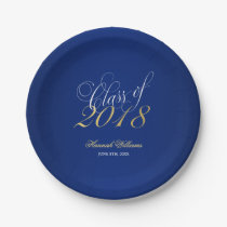 Script Navy Blue Faux Gold 2018 Graduation Party Paper Plate
