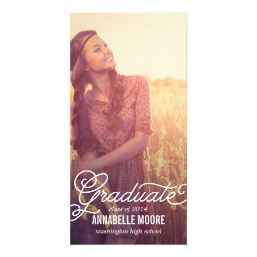 Script Overlay Graduation Announcement Picture Card