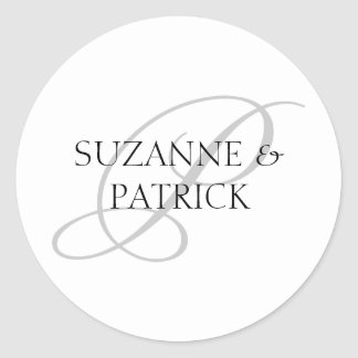 Script P Monogram Labels (Silver / Black) Round Stickers