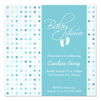 "Script Polka Dot Boy Baby Shower Invite 5.25"" Square Invitation Card"