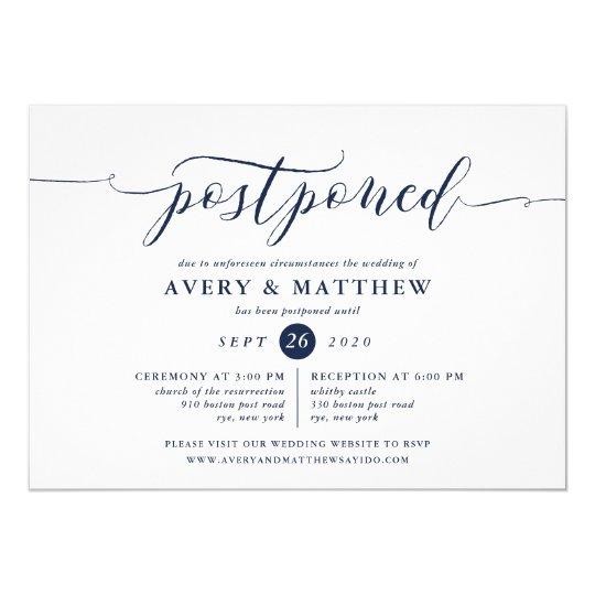 Script Postponed Wedding Ceremony And Reception Invitation