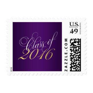 Script Purple Gold Class of 2016 Graduation Postage