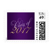 Script Purple Gold Class of 2017 Graduation Postage