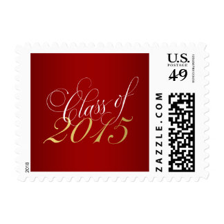 Script Red Gold Class of 2015 Graduation Postage Stamp