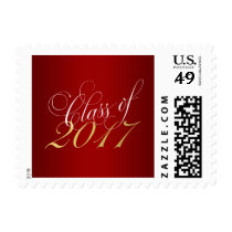 Script Red Gold Class of 2017 Graduation Postage