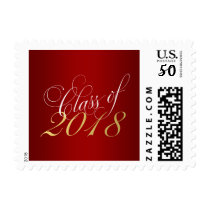 Script Red Gold Class of 2018 Graduation Postage