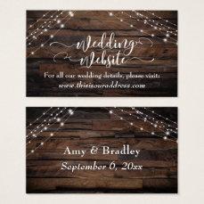 Script Rustic Wood & Light Strings Wedding Website Business Card