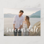 "Script Save the Date Postcard<br><div class=""desc"">Congratulations on your engagement! Save the Date announcements are the first big step in the wedding planning process! Remember, your save the date announcement will set the tone for your big day, be sure to impress guests with an unforgettable design and a peek into what&#39;s to come! This design features...</div>"