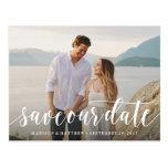 Script Save The Date Postcard at Zazzle