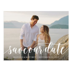 Script Save The Date Postcard at Zazzle
