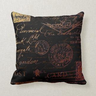 Script & Stamps Throw Pillow