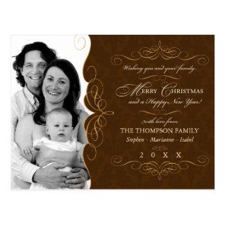Script Swirl Country Christmas photo postcard