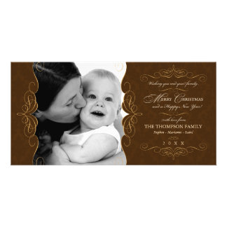 Script Swirls Country Brown Christmas photo card