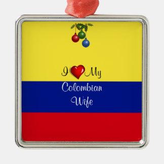 "Script text, ""I Love My Colombian Wife Metal Ornament"