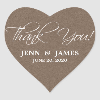 Script Thank You Wedding Favor Labels Heart Stickers