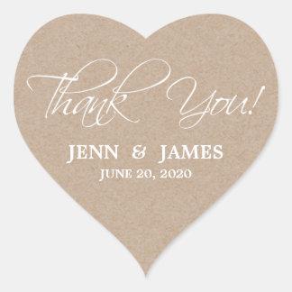 Script Thank You Wedding Favor Labels Heart Sticker