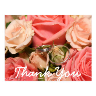 Script type & Pink Roses   Thank You Card