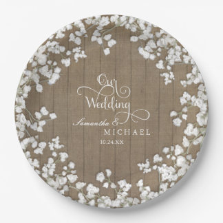 Script Typography Country Western Baby's Breath Paper Plate