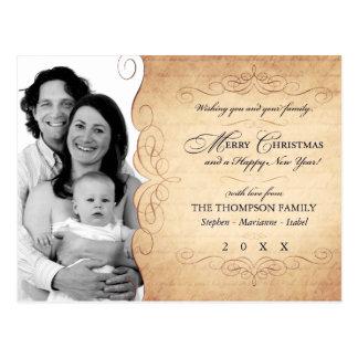 Script Vintage Sepia Christmas photo postcard