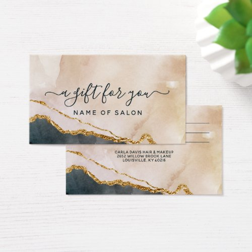 Script Watercolor Pink Black Gold Marble Gift Card