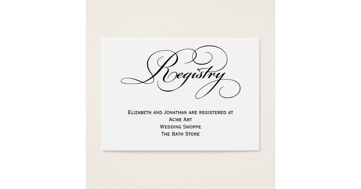 Wedding Gift Card Registry: Script Wedding Registry Information Card