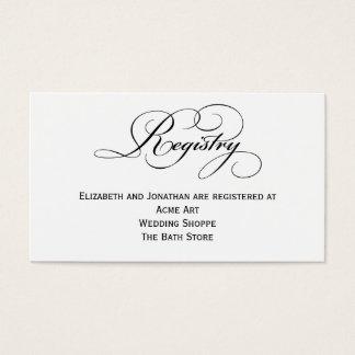 Script Wedding Registry Information Card